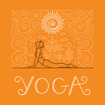 Vector yoga and sport motivation banner and poster in trendy linear style with hand-lettering text - t-shirt print for yoga classes and studios