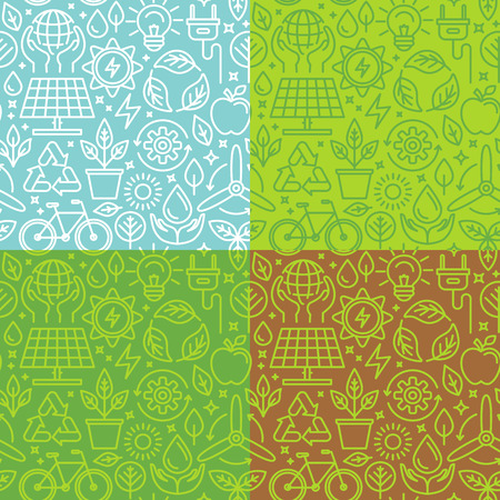 sustainable development: Vector seamless pattern with linear icons related to green energy, sustainable development, recycling and ecology - abstract green backgrounds for websites and banner designs