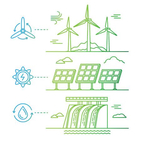 Vector illustratie in eenvoudige lineaire vlakke stijl - alternatieve en hernieuwbare energiebronnen - wind-aangedreven elektrische generatoren, hydro electro station en zonnepanelen - infographics design elementen