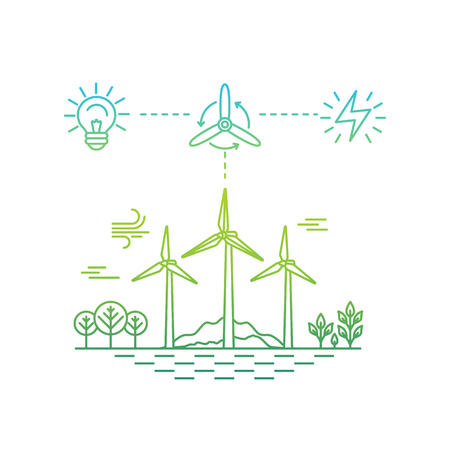 generators: Vector illustration in simple linear flat style - alternative and renewable energy - wind-powered electrical generators with landscape - infographics design elements