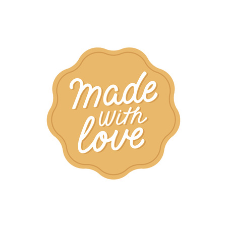 handlettering: Vector label and badge with hand-lettering type - made with love stamp for homemade products and shops Illustration