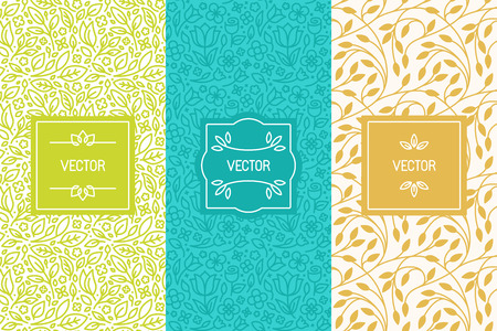 Vector set of packaging design templates, seamless patterns and frames with copy space for text for cosmetics, beauty products, organic and healthy food with green leaves and flowers - modern style ornaments and backgrounds
