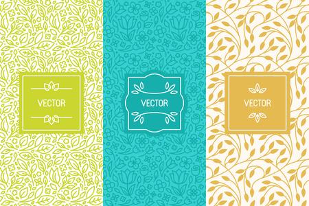 Wektor zestaw opakowań szablonów projektowych, bez szwu desenie i ramki z miejsca kopiowania dla tekstu na kosmetyki, kosmetyki, ekologiczne i zdrowej żywności z zielonych liści i kwiatów - nowoczesnym stylu ozdoby i tła