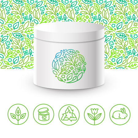 Vector design kit - set of design elements,   design template, icons and badges for natural and organic cosmetics in trendy linear style - packaging template with seamless pattern with green leaves Illustration