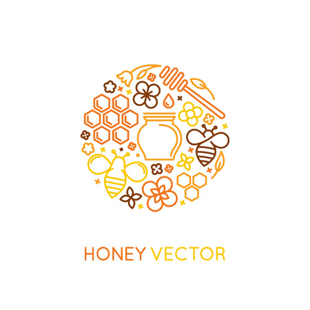 Vector packaging design templates in trendy linear style - natural and farm honey concepts - label and tag with bees, honeycombs and flowers
