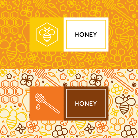 creamed: Vector packaging design templates in trendy linear style - natural and farm honey packaging - labels and tags with floral seamless patterns