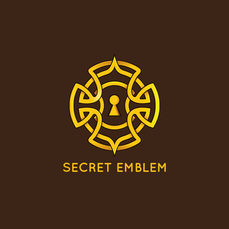 keyhole: Vector design template - keyhole emblem in vintage style and golden color  - concept for quest game, real-life room escape and puzzle