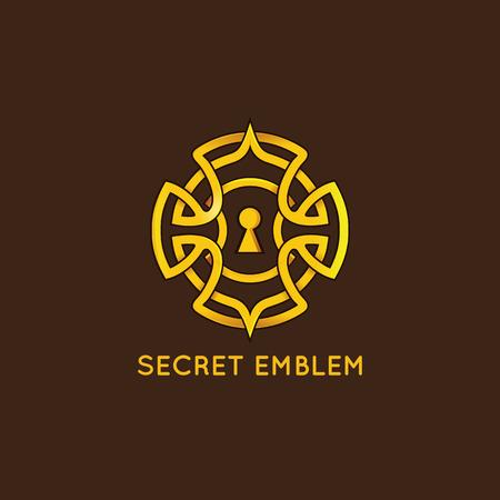 Vector design template - sleutelgat embleem in vintage stijl en gouden kleur - concept voor quest spel, Escape Room en puzzel Vector Illustratie