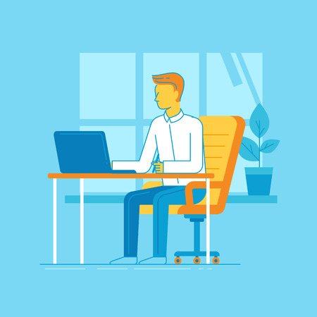 Vector illustration in trendy flat linear style and blue colors - man working sitting at the desk with laptop - creative and freelance work concept in home office Illustration