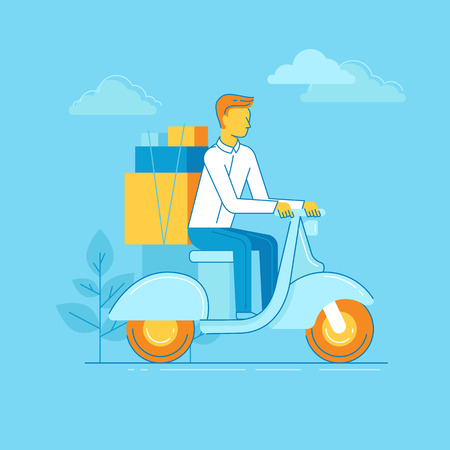 Vector illustration in modern flat linear style - man riding motorbike with boxes - delivery business concept