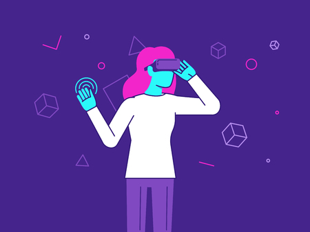 girl wearing glasses: Vector illustration in modern flat style - girl wearing VR headset - virtual reality glasses concept Illustration