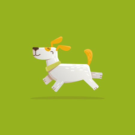 purebred: Vector cartoon illustration in simple flat style - funny and friendly dog and puppy