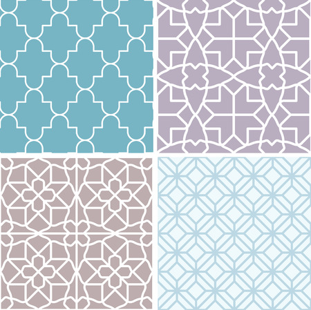 Vector set of seamless patterns and abstract backgrounds in trendy simple linear style - moroccan ornaments 向量圖像