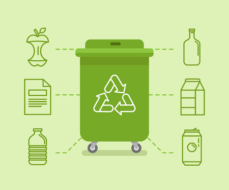 Vector illustration in modern flat linear style - recycle trash bins and cans - sorting and recycling different types of garbage - organic, glass, paper, plastic, metal - infographic design elements and icons