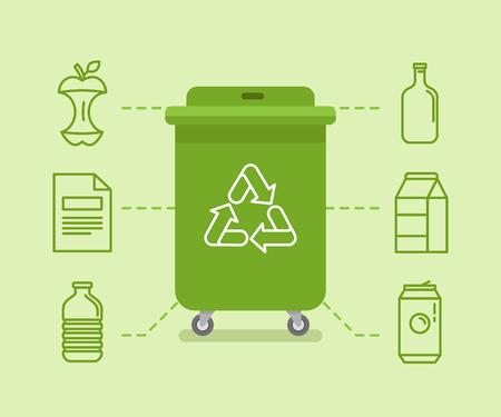 Vektor-Illustration in der modernen Wohnung linearen Stil - Recycling Mülltonnen und Dosen - Sortierung und Recycling von verschiedenen Arten von Müll - organisch, Glas, Papier, Kunststoff, Metall - Infografik Design-Elemente und Symbole