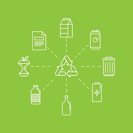 basura organica: Ilustración del vector en estilo lineal plana moderna - reciclar los contenedores de basura y latas - separación y reciclaje de los diferentes tipos de basura - orgánica, vidrio, papel, plástico, metal - elementos de diseño y los iconos de infografía