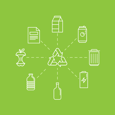 basura organica: Vector illustration in modern flat linear style - recycle trash bins and cans - sorting and recycling different types of garbage - organic, glass, paper, plastic, metal - infographic design elements and icons