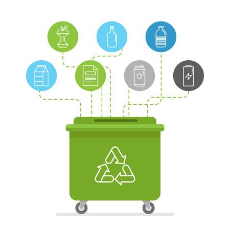 basura organica: Ilustraci�n del vector en estilo lineal plana moderna - reciclar los contenedores de basura y latas - separaci�n y reciclaje de los diferentes tipos de basura - org�nica, vidrio, papel, pl�stico, metal - elementos de dise�o y los iconos de infograf�a