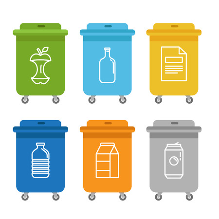 waste paper: Vector illustration in modern flat linear style - recycle trash bins and cans - sorting and recycling different types of garbage - organic, glass, paper, plastic, metal