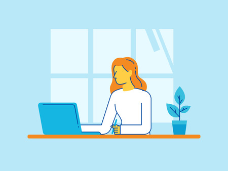 Vector illustration in trendy flat linear style - woman working sitting at the desk with laptop - creative and freelance work concept in home office