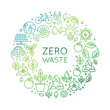 Vector   design template and badge in trendy linear style - zero waste concept, recycle and reuse, reduce - ecological lifestyle and sustainable developments icons