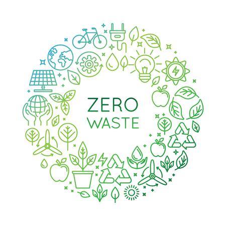Vector sjabloon en badge in trendy lineaire stijl - zero waste concept, recycling en hergebruik, te verminderen - ecologische levensstijl en duurzame ontwikkeling pictogrammen Stock Illustratie