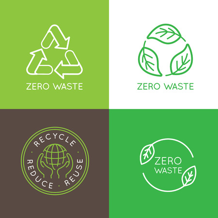 las plantillas del diseño del vector e insignias en el estilo lineal de moda - concepto de cero residuos, reciclaje y reutilización, reducen - iconos de estilo de vida ecológico y con el desarrollo sostenible