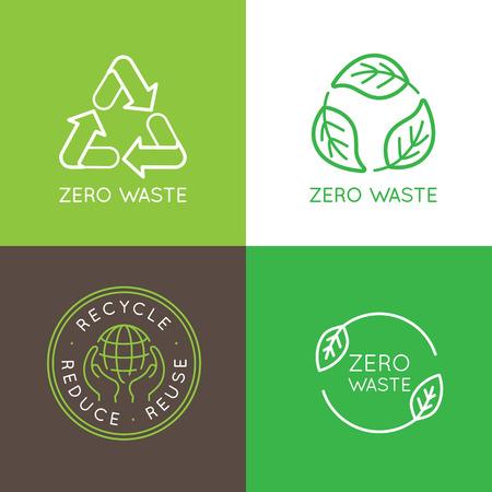 Vector design des modèles et des badges dans le style tendance linéaire - zéro concept de déchets, le recyclage et la réutilisation, réduisent - mode de vie écologique et développements durables icônes