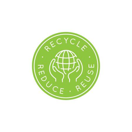 벡터 디자인 템플릿 및 유행 선형 스타일 - 제로 폐기물 개념, 재활용 및 재사용, 줄일 - 생태 라이프 스타일 및 지속 가능한 개발 아이콘 배지