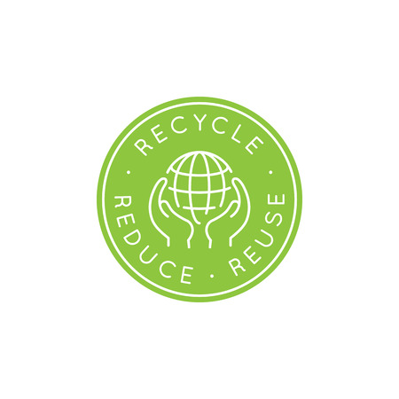 ecological: Vector  design template and badge in trendy linear style - zero waste concept, recycle and reuse, reduce - ecological lifestyle and sustainable developments icons