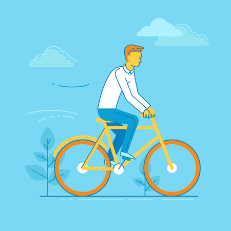 Vector male character in flat linear style - man riding bicycle