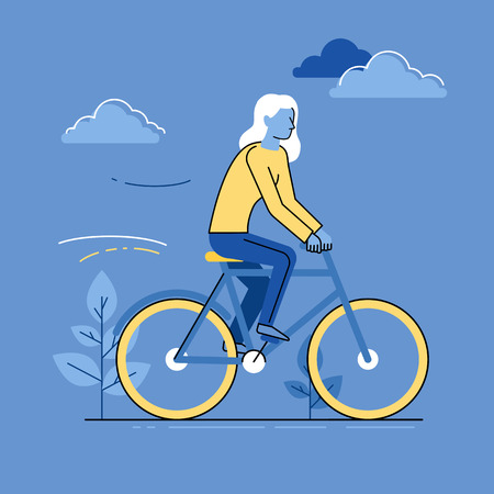 Vector female character in flat linear style - woman riding bicycle - bright illustration