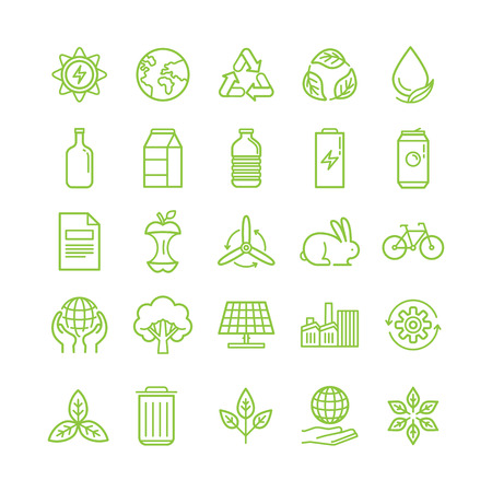 Vector illustration in modern flat linear style - recycle and ecology theme - sorting and recycling different types of garbage - organic, glass, paper, plastic, metal - infographic design elements and icons Imagens - 64874149