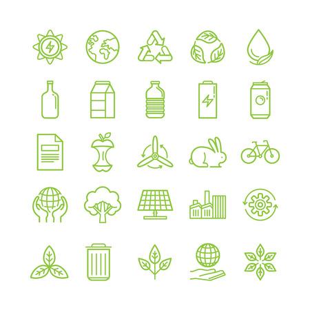 Illustrazione vettoriale in moderno stile lineare piatta - riciclo ed ecologia tema - di smistamento e riciclaggio diversi tipi di rifiuti - organico, vetro, carta, plastica, metallo - elementi di design e le icone infographic