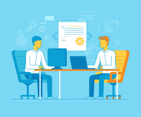 line up: Vector cartoon illustration in modern flat and linear style - two men working on a website in a coworking space - graphic designer and programmer Illustration