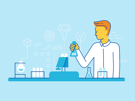 Vector illustration and infographics design elements in modern flat linear style - scientist working in the lab - chemical research, biological engineering concepts Illustration