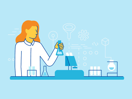 analyze: Vector illustration and infographics design elements in modern flat linear style - female scientist working in the lab - chemical research, biological engineering concepts Illustration