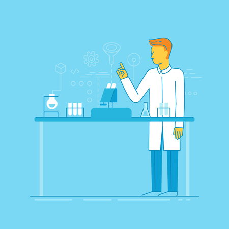 Vector illustration and infographics design elements in modern flat linear style - male scientist working in the lab - chemical research, biological engineering concepts