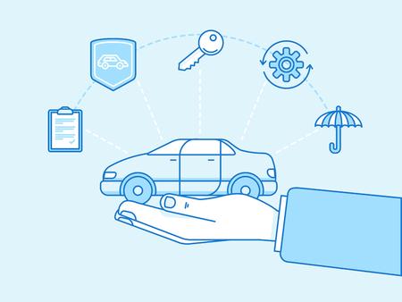 Vektor-Illustration und Infografik-Design-Elemente in der modernen Wohnung linearen Stil - Kfz-Versicherung Konzept - die Hände zu schützen und Fahrzeugtrage