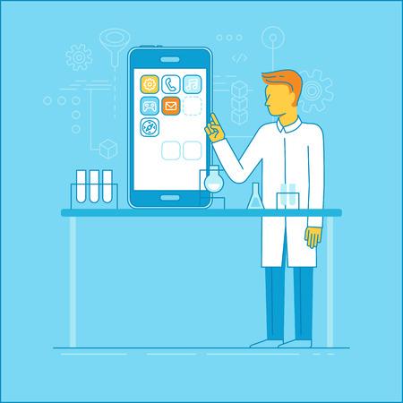 perspectiva lineal: ilustración del vector y la infografía elementos de diseño de estilo moderno lineal plana - concepto de desarrollo de aplicaciones - macho científico y técnico que trabaja en la aplicación de teléfono móvil