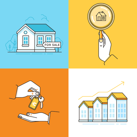 purchasing: Vector set of linear icons and infographic design elements - real estate concepts - houses for sale - process of purchasing property with agent and investing money in property