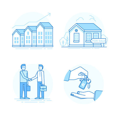 home buyer: Vector set of linear icons and infographic design elements - real estate concepts - houses for sale - process of purchasing property with agent