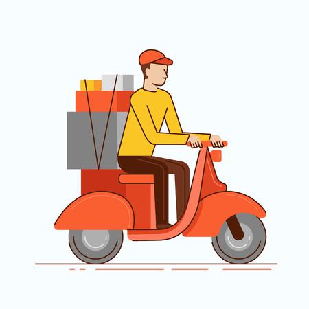 motor de carro: Ilustración del vector en estilo moderno lineal plana - Mensajero del hombre de la moto a caballo con cajas - concepto de negocio de entrega