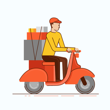 Vector illustration in modern flat linear style - man courier  riding motorbike with boxes - delivery business concept