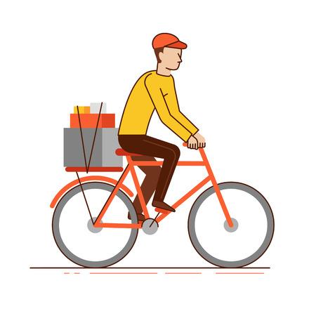 Ilustración del vector en estilo moderno lineal plana - montar bicicleta Mensajero del hombre con las cajas - concepto de negocio de entrega Vectores