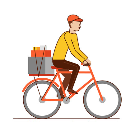 Vector illustration in modern flat linear style - man courier riding bicycle with boxes - delivery business concept Illustration