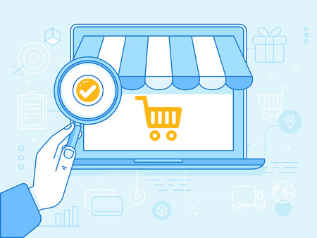 lorries: Vector linear illustration and infographics design elements - internet shopping concept - laptop with shopping cart icon and hand holding magnifying glass