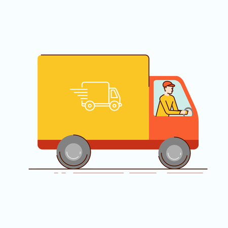 motor de carro: Vector illustration in modern flat linear style - man courier  driving truck - delivery business concept Vectores