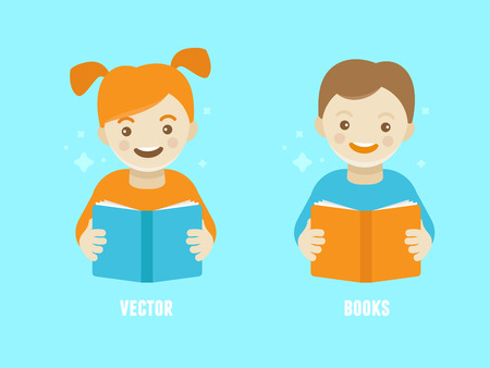 boy smiling: Vector illustration in modern flat cartoon style -   design template for kids education class or course - funny smiling girl and boy reading book