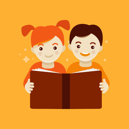 Vector illustration in modern flat cartoon style -   design template for kids education class or course - funny smiling girl and boy reading book